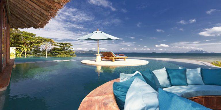 Resort de luxo acessível apenas de barco